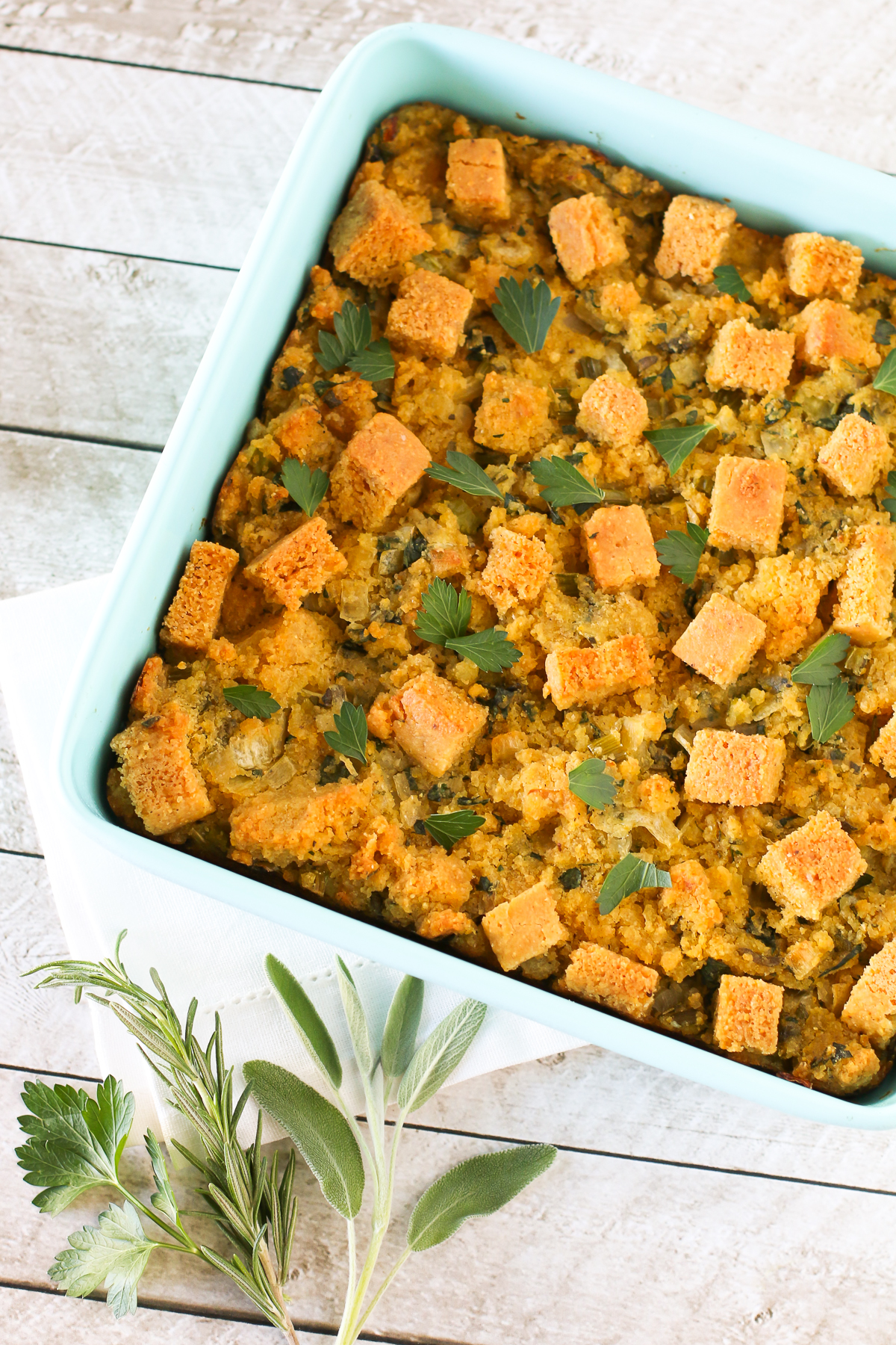 Gluten Free Vegan Cornbread Stuffing. Moist and packed with fresh herbs, this cornbread stuffing is so flavorful!