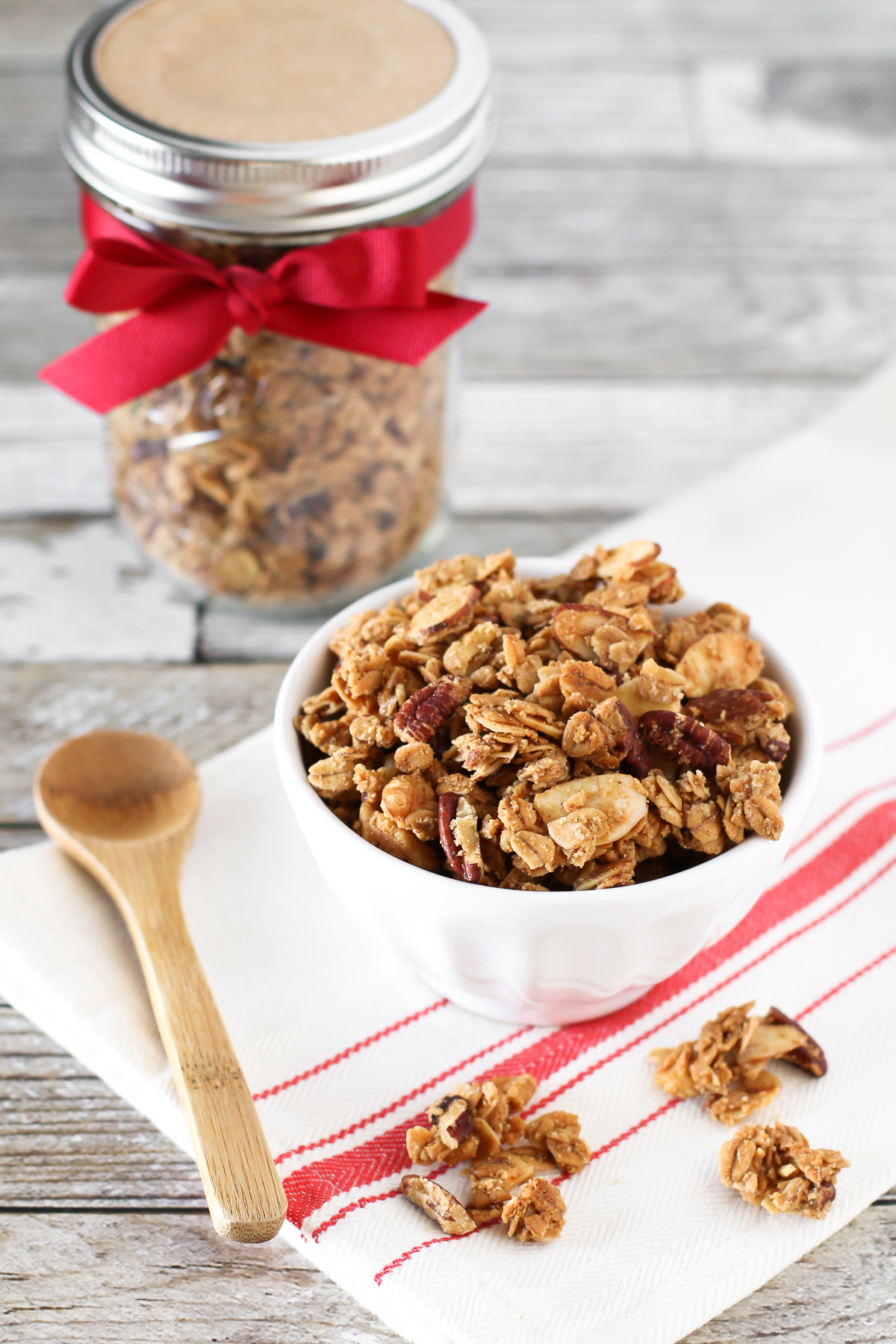Gluten Free Holiday Spice Granola. With the addition of cinnamon, nutmeg, allspice and ginger, this granola is bursting with holiday spice!