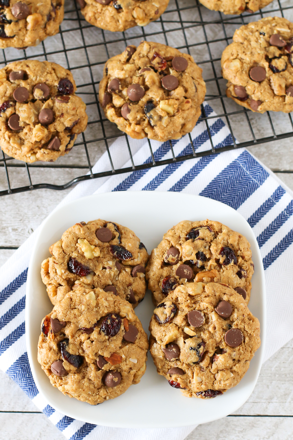 Gluten Free Vegan Trail Mix Cookies. These cookies are pack with nuts, dried fruit, coconut and of course, chocolate chips!