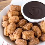 gluten free vegan churro bites with chocolate sauce
