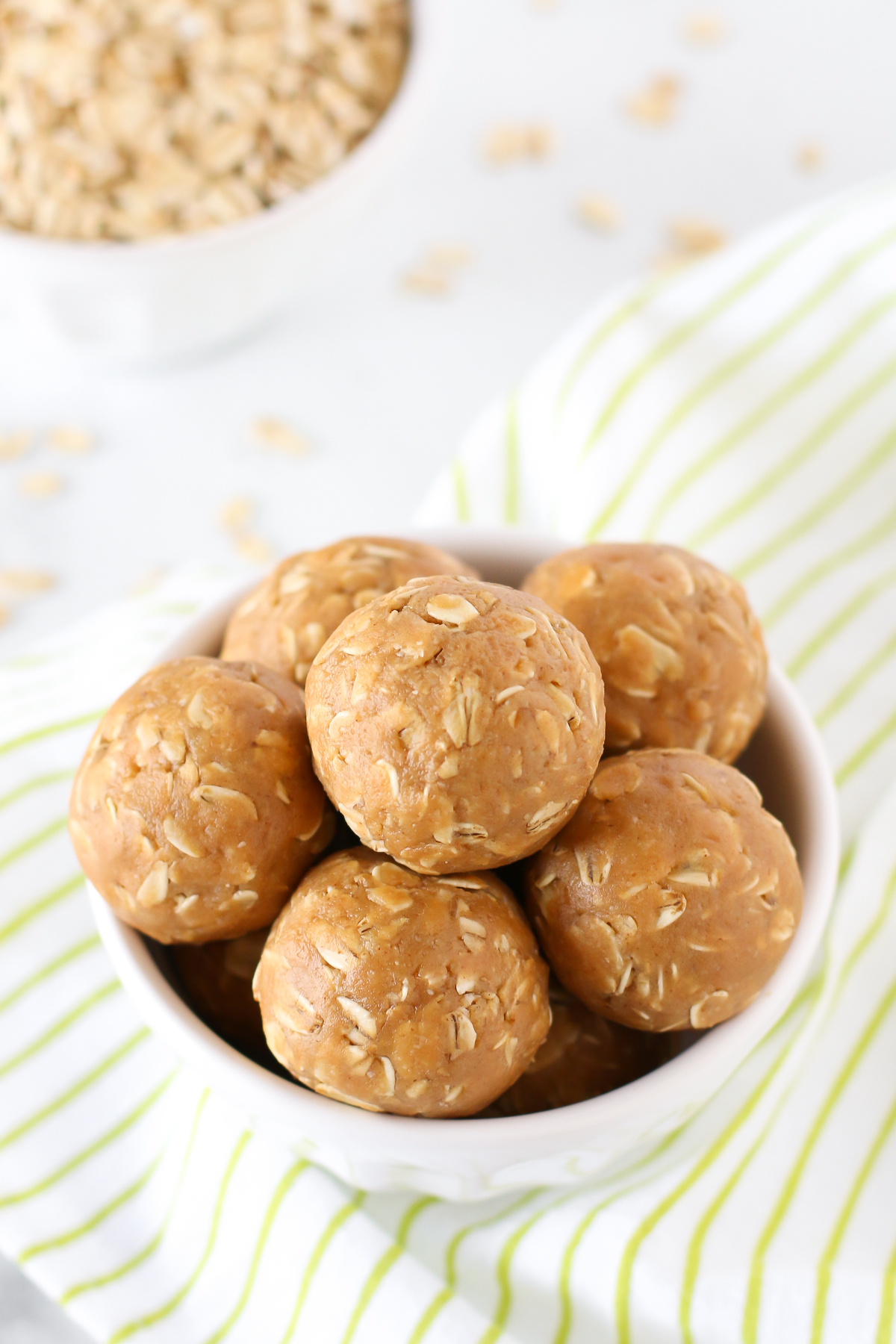 Peanut Butter Energy Bites. These little bites are made with just 4 ingredients. Easy-peasy!