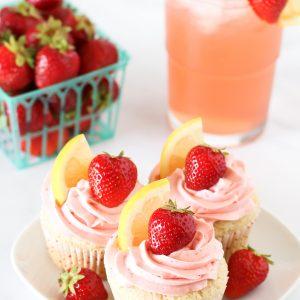 gluten free vegan strawberry lemonade cupcakes