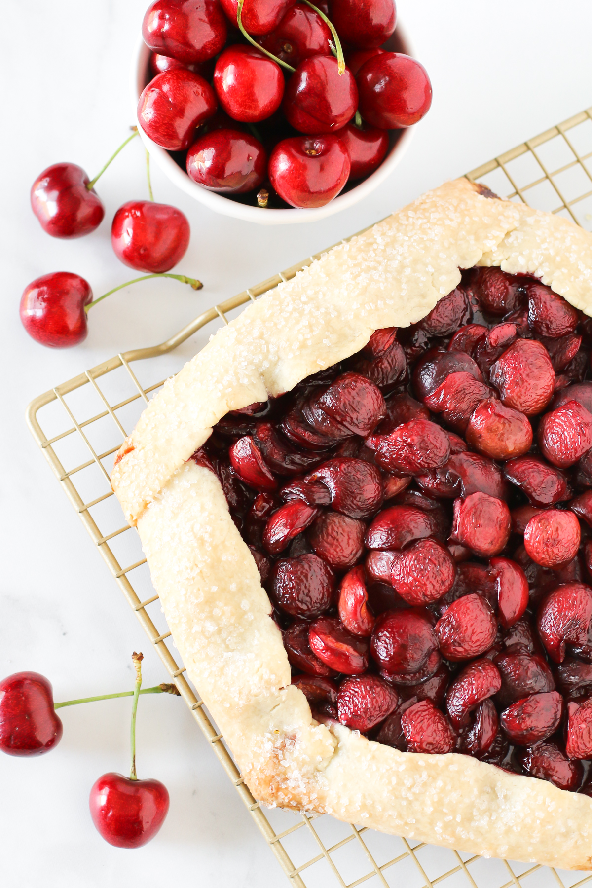Gluten Free Vegan Cherry Crostata. Flakey gluten free crust, filled with an abundance of sweet, fresh cherries. Who's ready for pie?