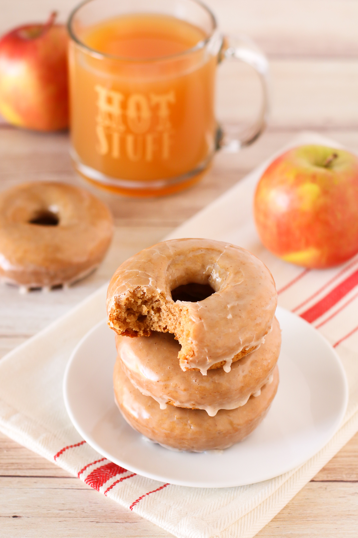 Gluten Free Vegan Baked Apple Cider Donuts. Tender apple cider donuts with a simple cinnamon glaze. This recipe is fall-tastic!