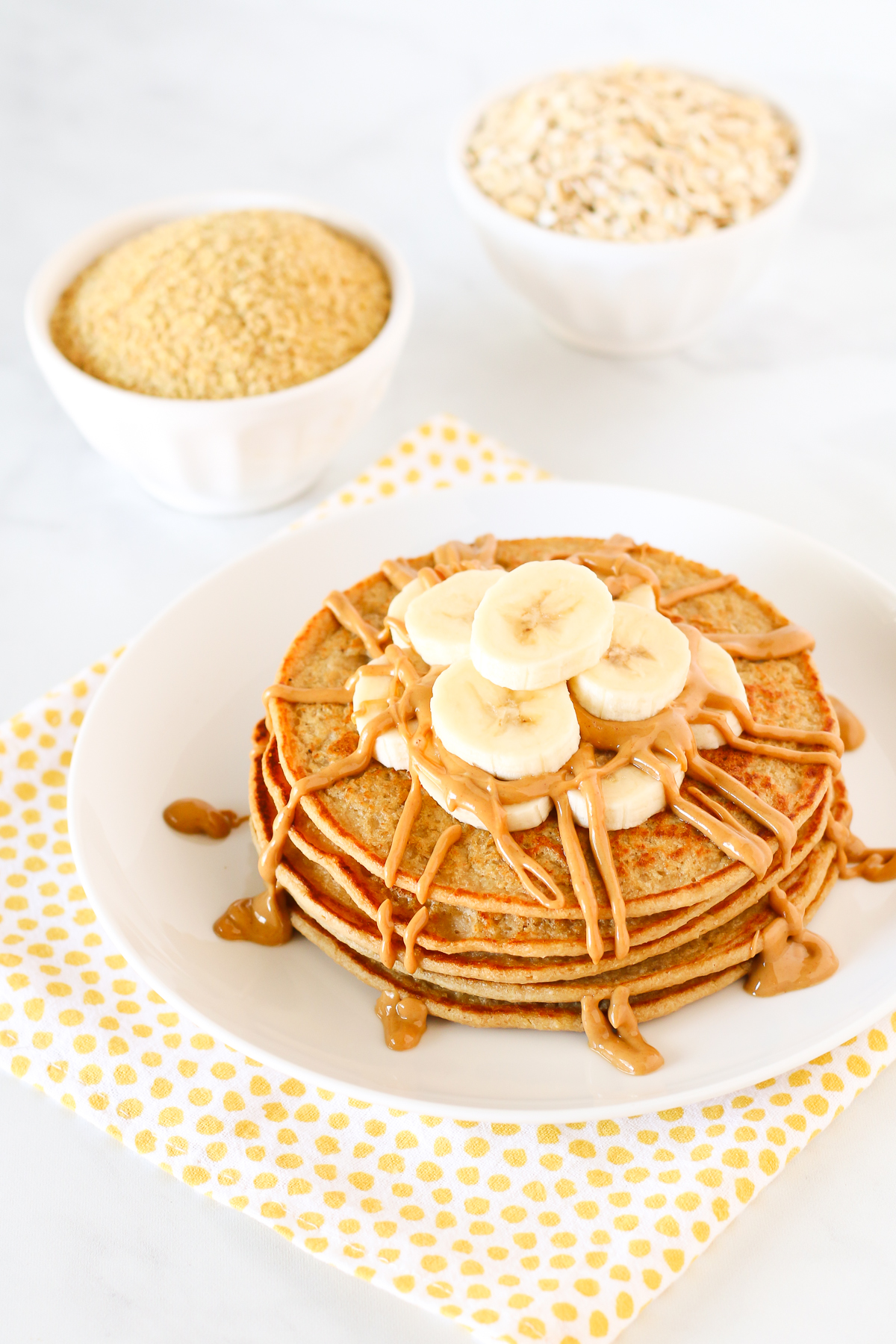 Gluten Free Vegan Blender Pancakes. A quick and easy pancake batter, made in the blender and ready in minutes. Great for those busy mornings!