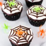 gluten free vegan chocolate spiderweb cupcakes
