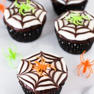 gluten free vegan chocolate spiderweb cupcakes