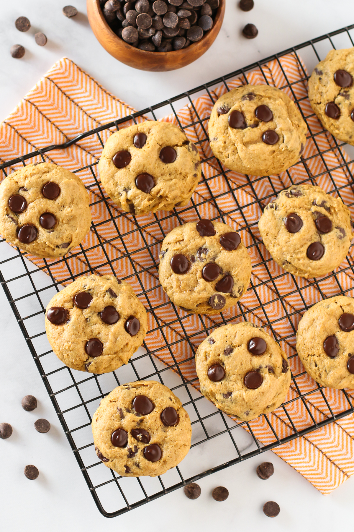 Gluten Free Vegan Pumpkin Chocolate Chip Cookies. Pumpkin, chocolate, spice and everything nice. That's what these allergen free cookies are made of!