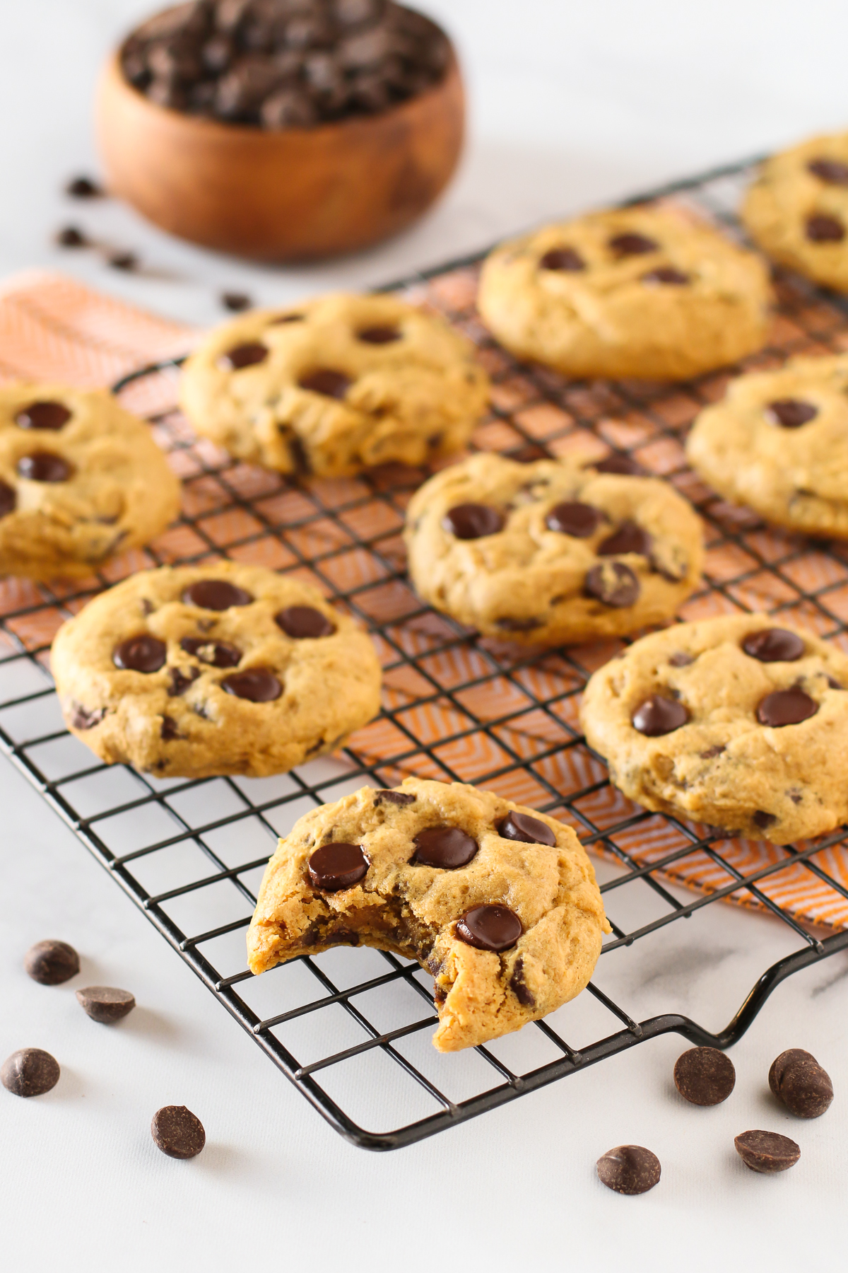 Gluten Free Vegan Pumpkin Chocolate Chip Cookies. Soft pumpkin cookies, loaded with chocolate chips. These allergen free cookies are almost too good to be true!