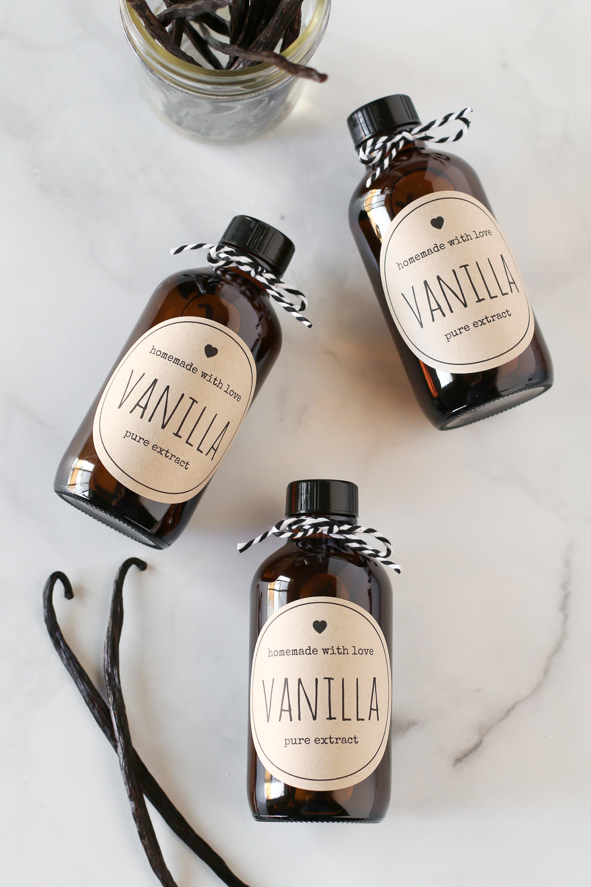 Homemade Vanilla Extract. Only a few easy steps to make your very own bottles of pure vanilla extract!