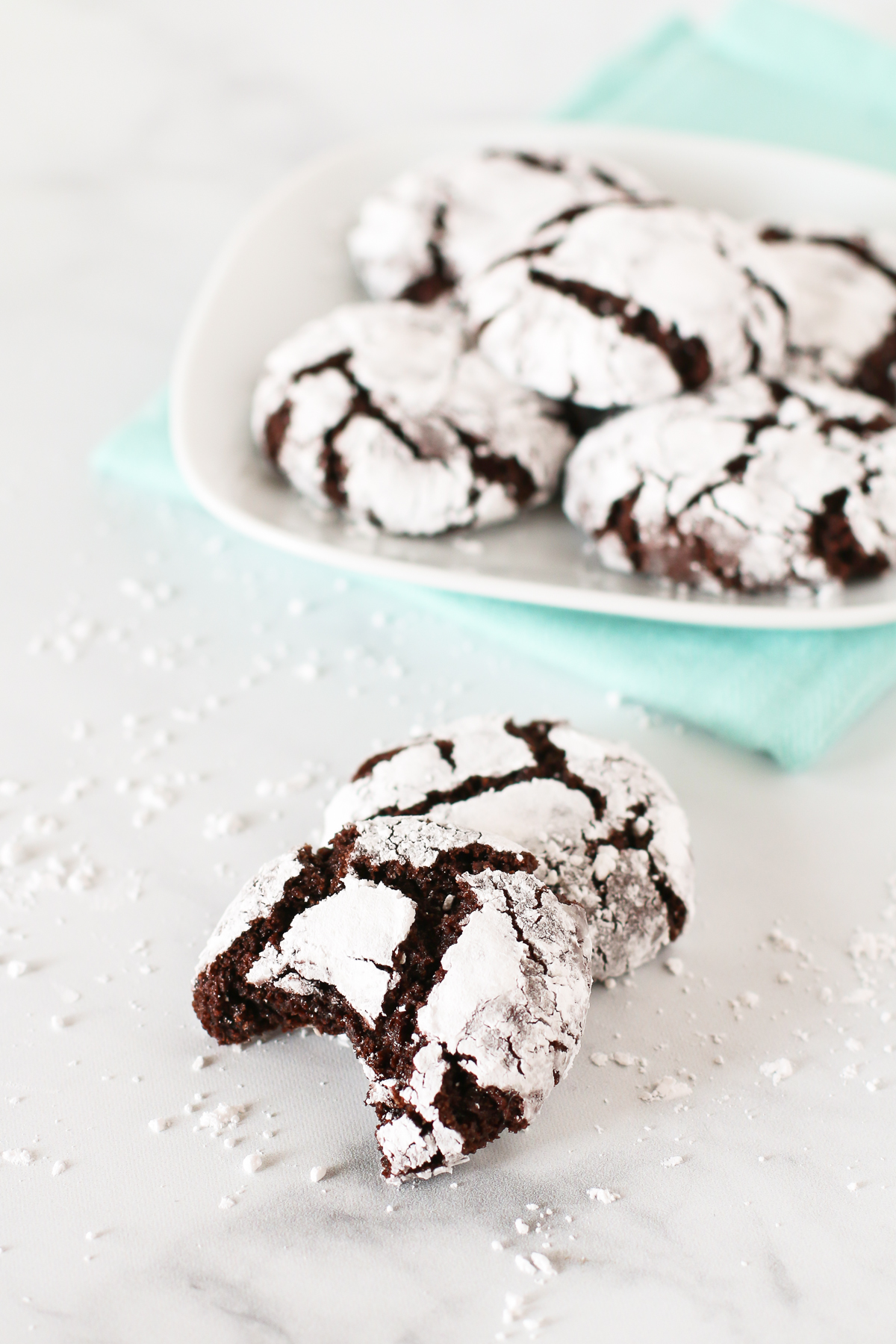 Gluten Free Vegan Chocolate Crinkle Cookies. The classic chocolate cookie, coated in powdered sugar and oh so fudgy.