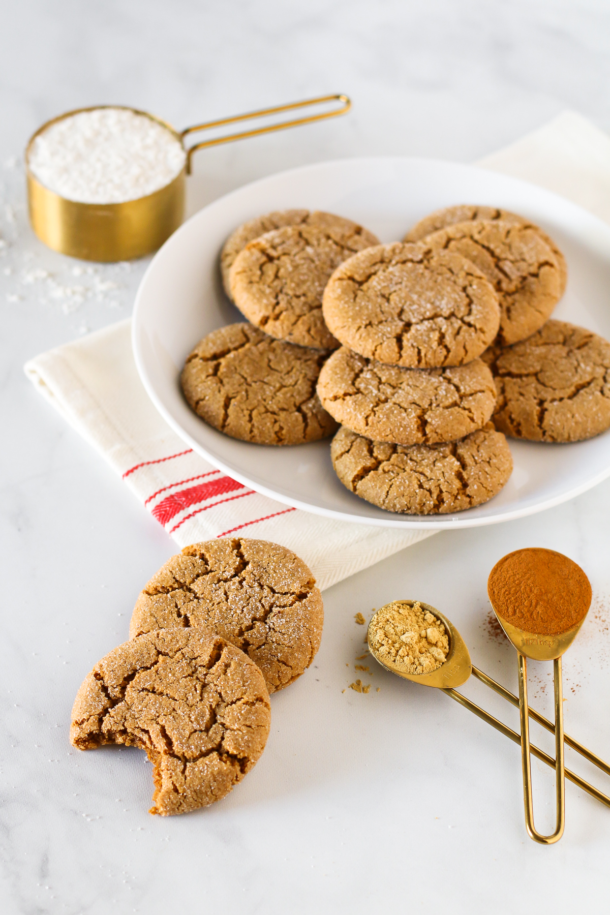 Gluten Free Vegan Molasses Cookies. Soft, chewy and perfectly spiced. A classic holiday cookie!