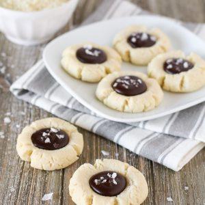 gluten free vegan salted chocolate almond thumbprint cookies