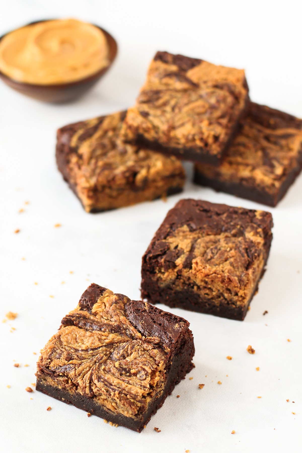 Gluten Free Vegan Peanut Butter Swirl Brownies. Who can resist a chocolate fudge brownie with swirls of creamy peanut butter?