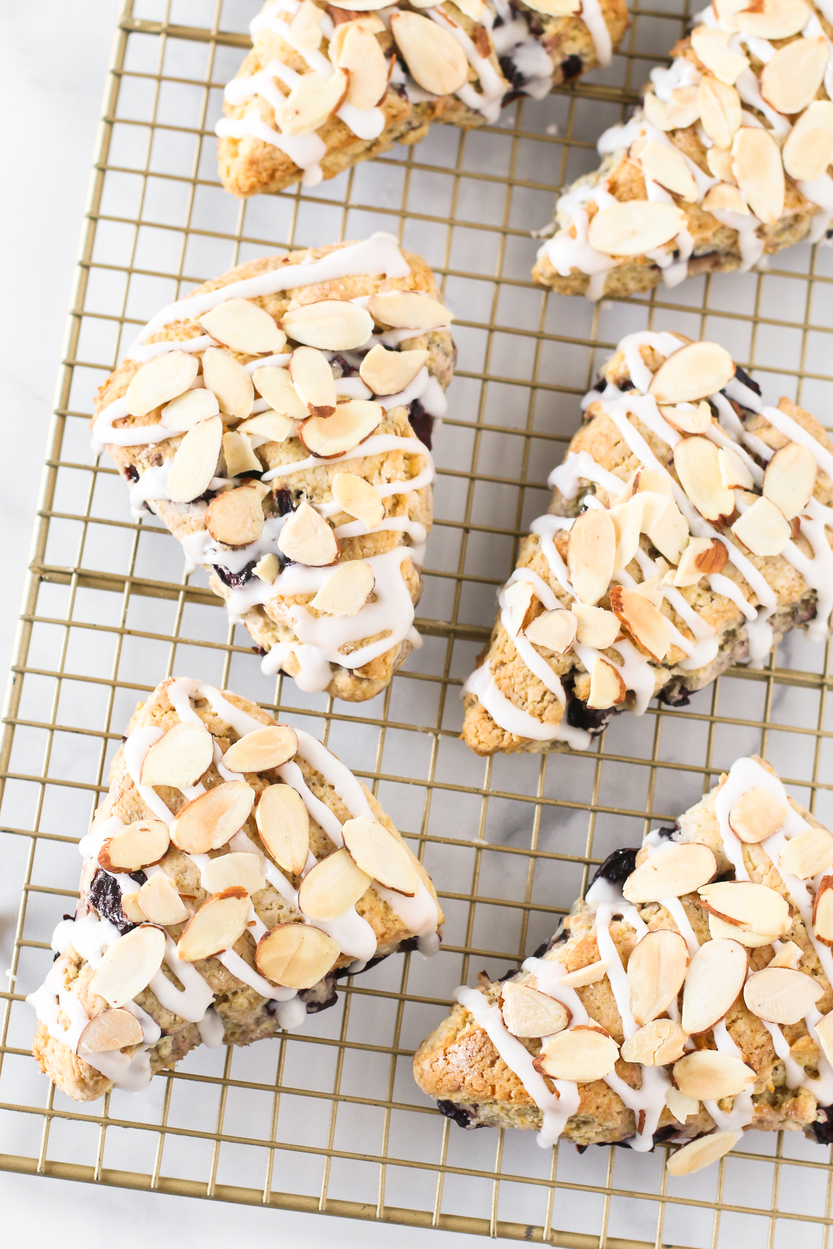 Gluten Free Vegan Cherry Almond Scones. Tender scones with black cherries. The simple glaze and toasted almonds are the perfect topping!