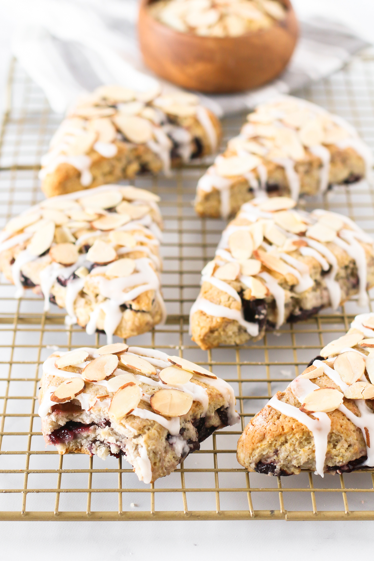 Gluten Free Vegan Cherry Almond Scones. Tender scones with black cherries and toasted almonds. The perfection coffee companion!