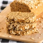 Gluten Free Vegan Oatmeal Quick Bread. Slices of soft oat bread, ready for your favorite jam or nut butter.