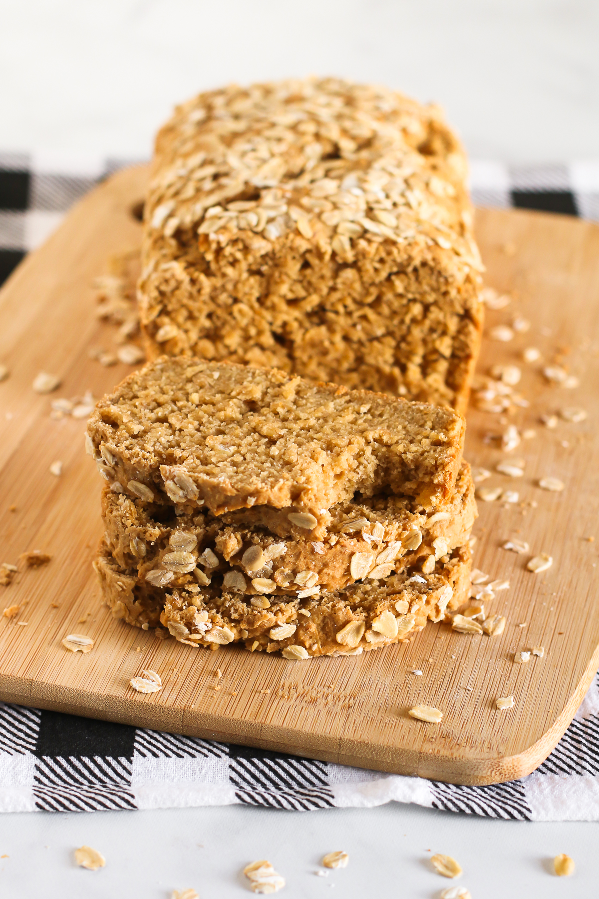 Gluten Free Vegan Oatmeal Quick Bread. Soft oat bread, made without yeast and mixes up in one bowl!