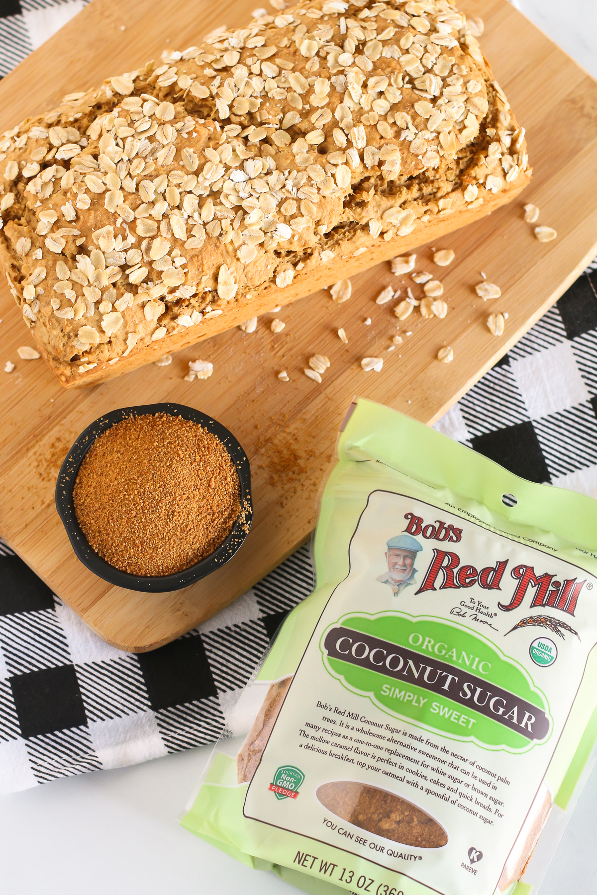 Gluten Free Vegan Oatmeal Quick Bread. Soft oat bread, sweetened with Bob's Red Mill organic coconut sugar.
