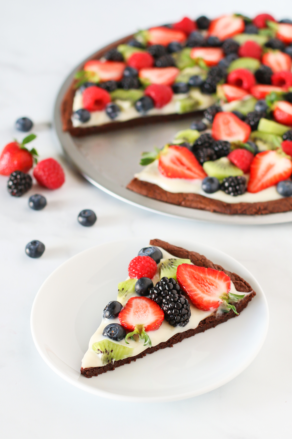 Gluten Free Vegan Brownie Fruit Pizza. Did you say pizza for dessert? I'm in!