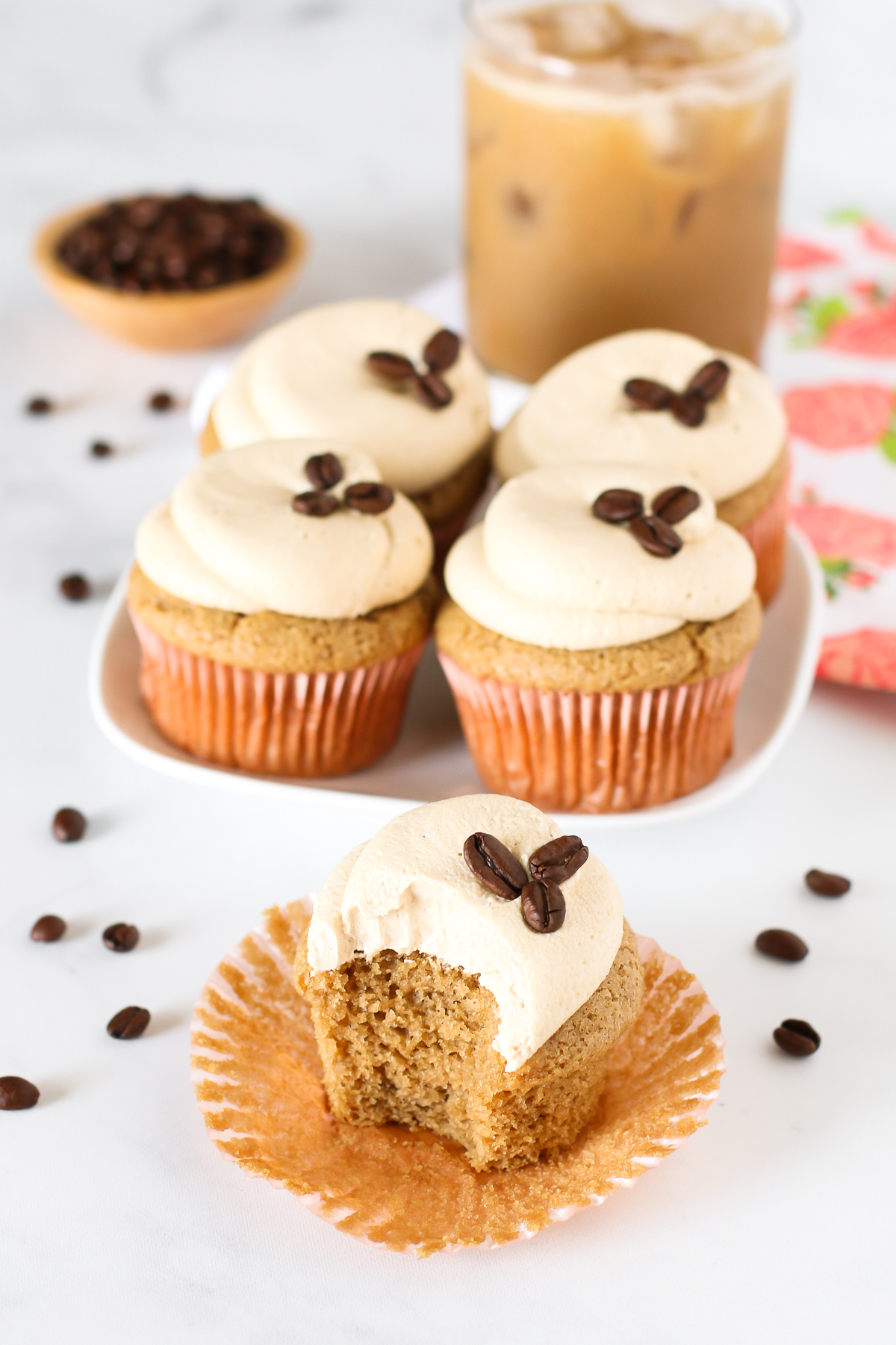 Gluten Free Vegan Vanilla Latte Cupcakes. Fluffy coffee cupcakes with a vanilla espresso buttercream. A coffee lovers dream!