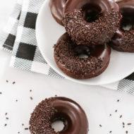 gluten free vegan baked chocolate donuts
