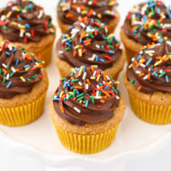 gluten free vegan vanilla cupcakes with chocolate frosting