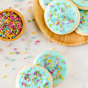 Gluten Free Vegan Frosted Sugar Cookies. The perfect rolled and cutout sugar cookies, with a simple vanilla frosting. An exceptional cookie for any occasion!