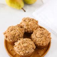 gluten free vegan pear crumb muffins