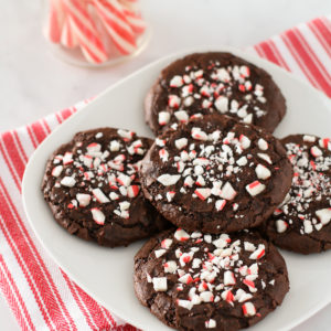 Gluten Free Vegan Chewy Chocolate Peppermint Cookies. Chocolate and peppermint make the perfect Christmas cookie combination!