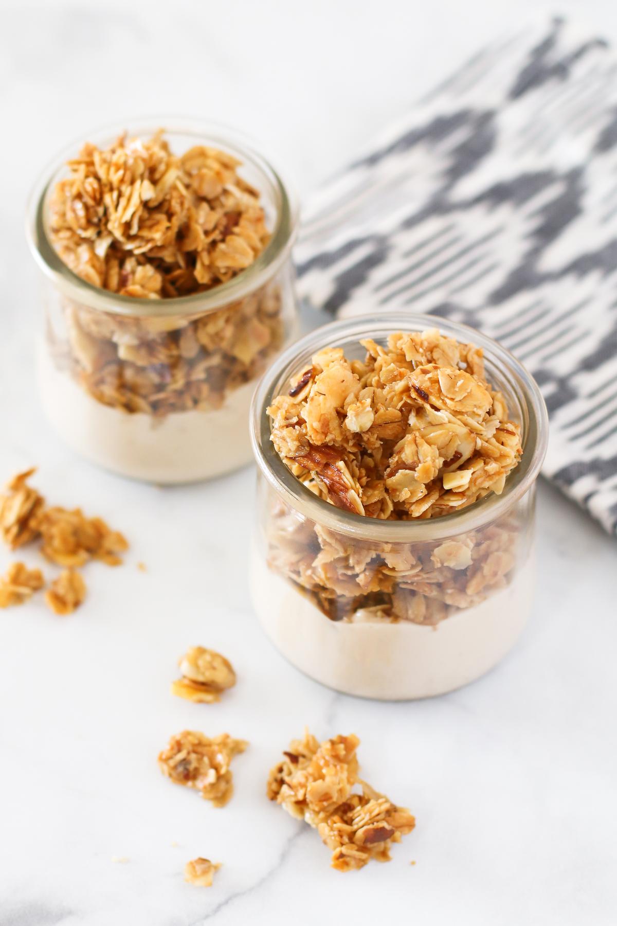 Gluten Free Honey Almond Granola. Crunchy, sweet and the perfect breakfast treat!