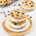 Gluten Free Vegan Chocolate Chip Cookie Ice Cream Sandwiches. Creamy vanilla ice cream, sandwiched between two chocolate chip cookies. What could be better?